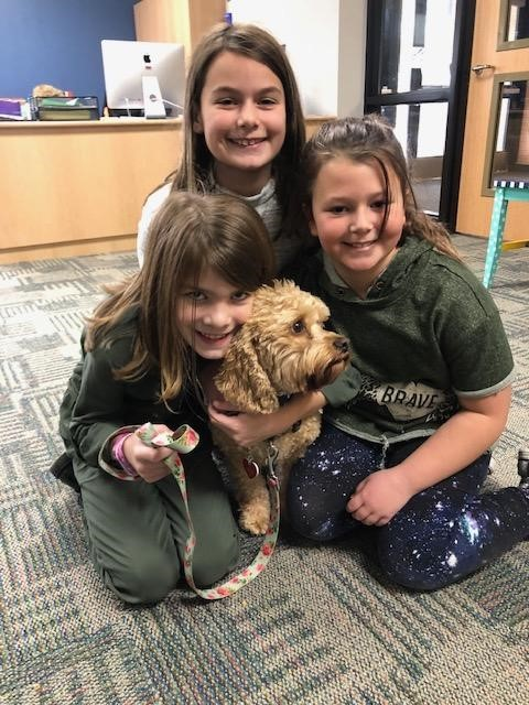 Wylie Students cuddle Harley the therapy dog