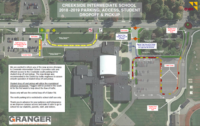 Creekside Intermediate New Drop Off Route fall 2018